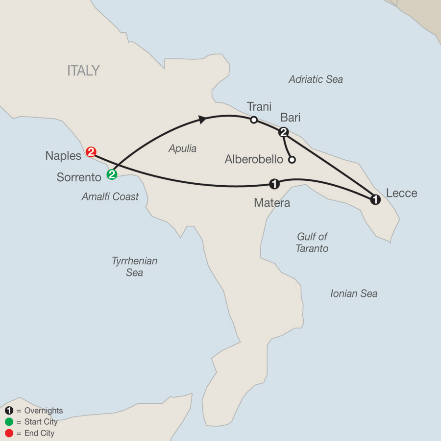 Southern Italy Escape map