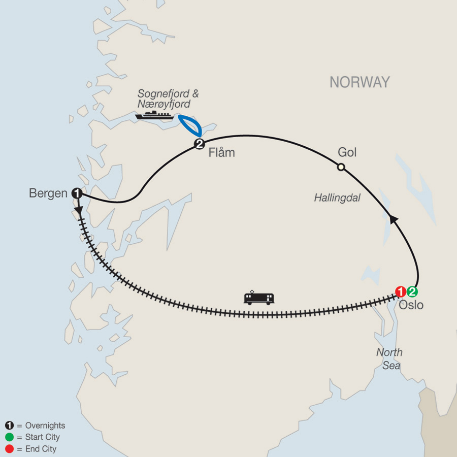 Norwegian Fjords Escape map