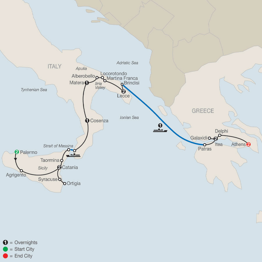 Southern Italy & Greece map