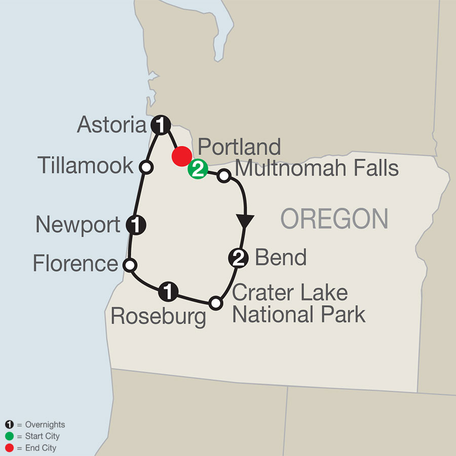 Oregon's Coast, Cascades & Craft Beers map