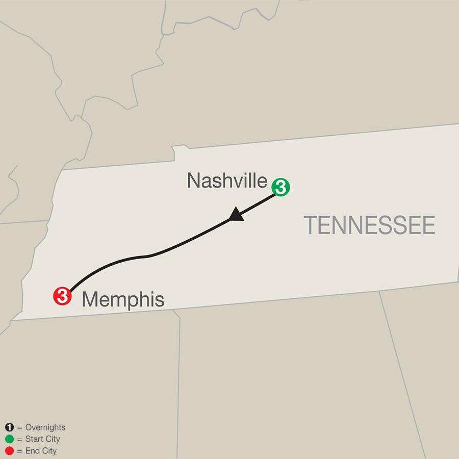 Music Cities: Nashville & Memphis map