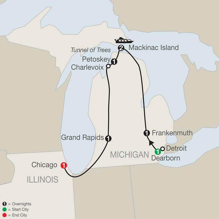 Mackinac Island & the Great Lakes map