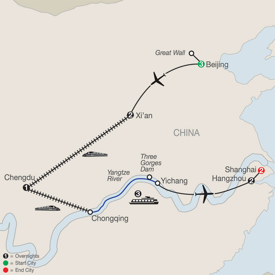 Flavors of China & the Yangtze map