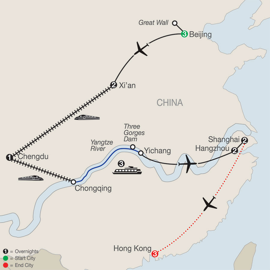 Flavors of China & the Yangtze with Hong Kong map