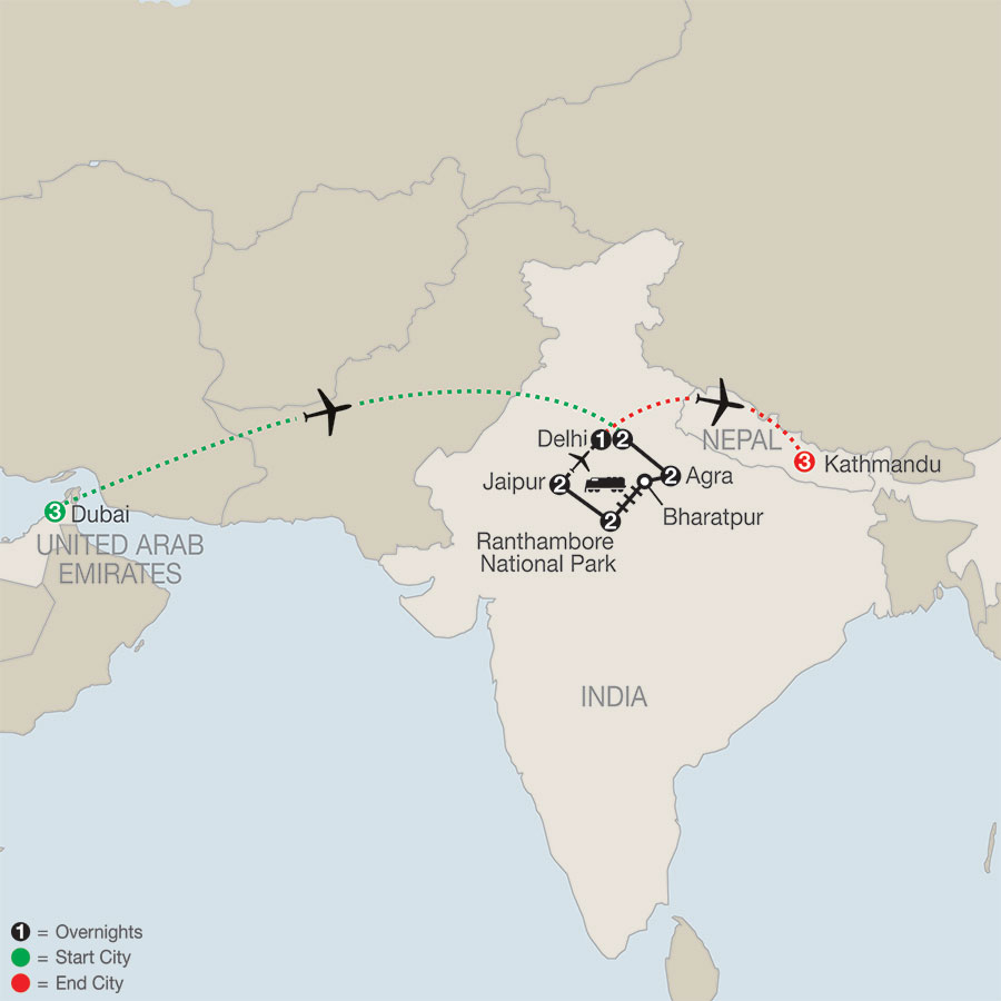 Dubai & Nepal Tour - Globus® Escorted Tours map