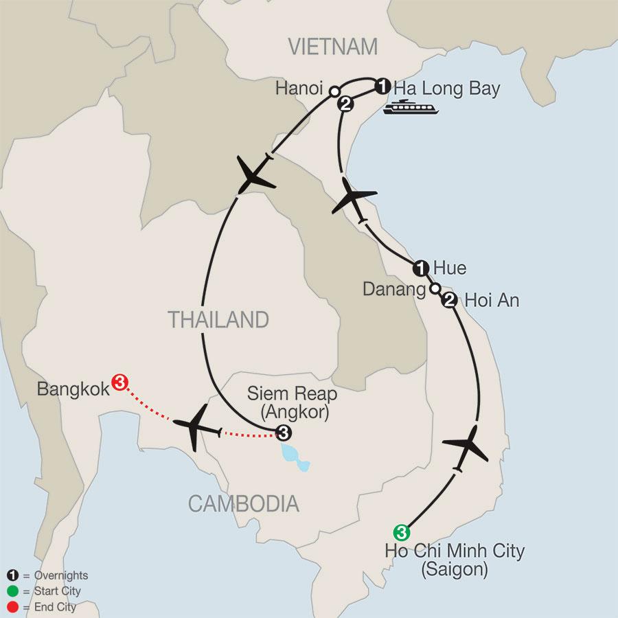 Vietnam & Cambodia: A Grand Adventure with Bangkok map