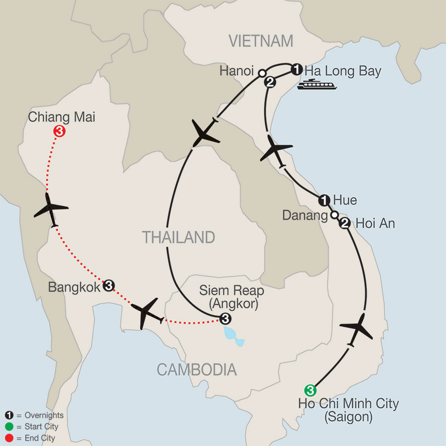 Vietnam & Cambodia: A Grand Adventure with Bangkok & Chiang Mai map