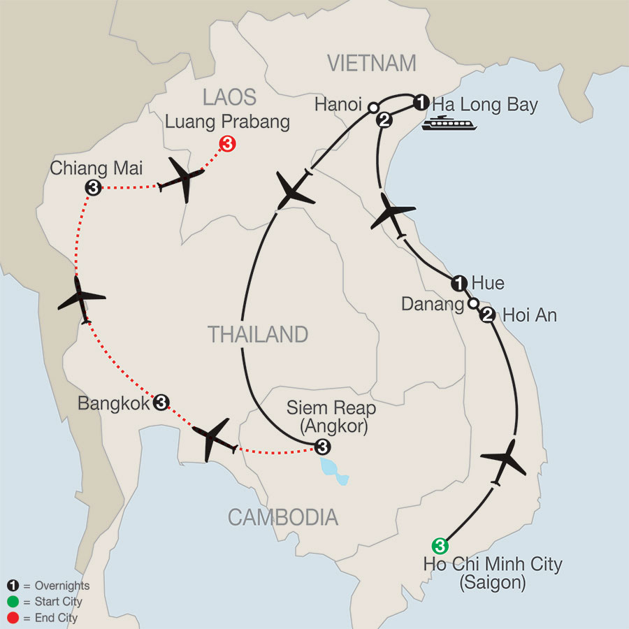 Vietnam & Cambodia: A Grand Adventure with Bangkok, Chiang Mai & Luang Prabang map
