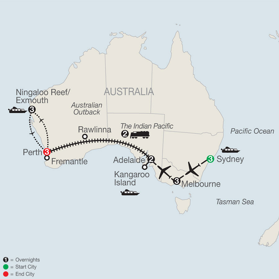 Across Australia on the Historic Indian Pacific Train with the Ningaloo Reef map