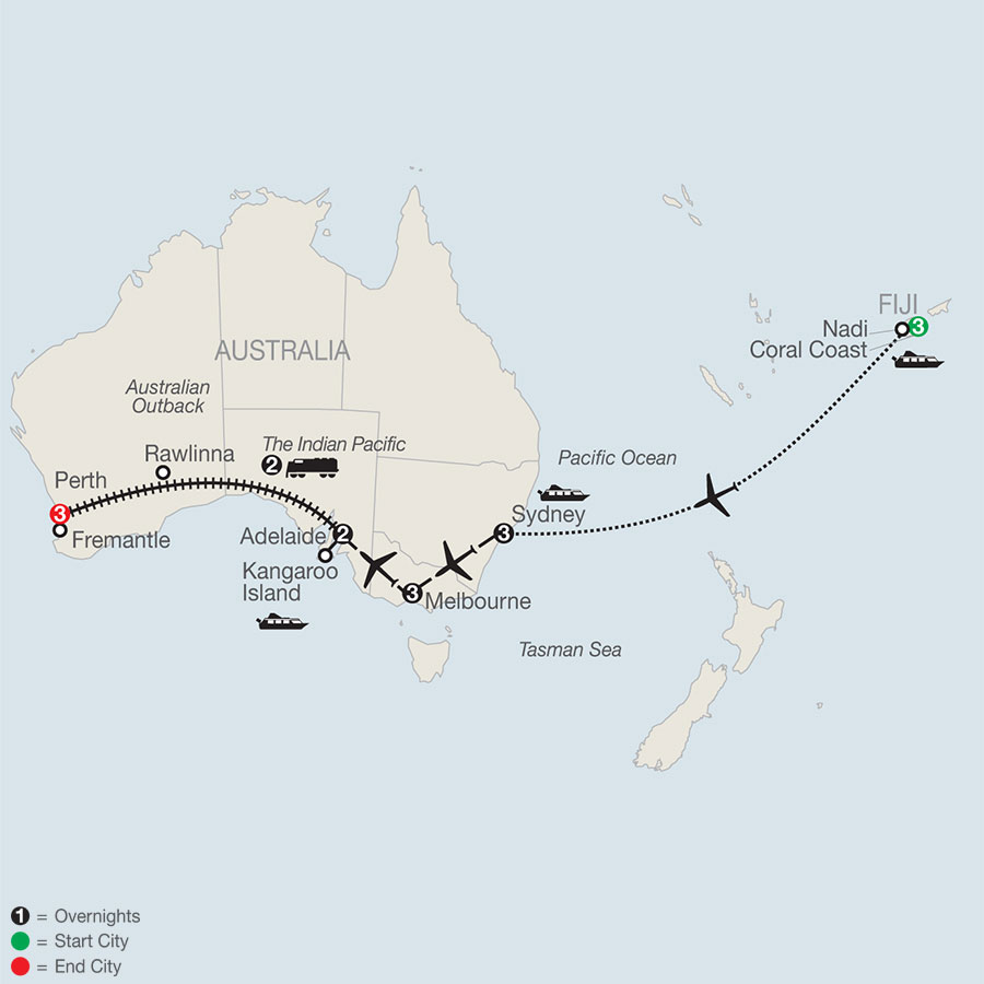 Across Australia on the Historic Indian Pacific Train with Fiji map