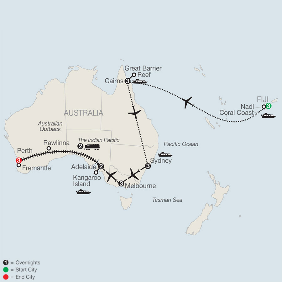 Across Australia on the Historic Indian Pacific Train with Fiji & the Great Barrier Reef map