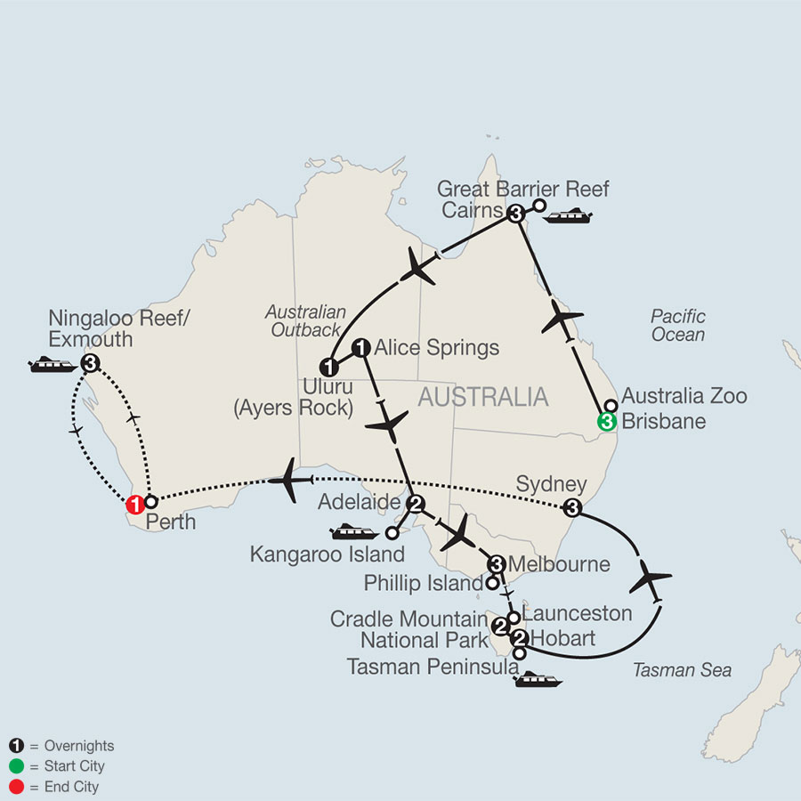 Australian Safari with the Ningaloo Reef map