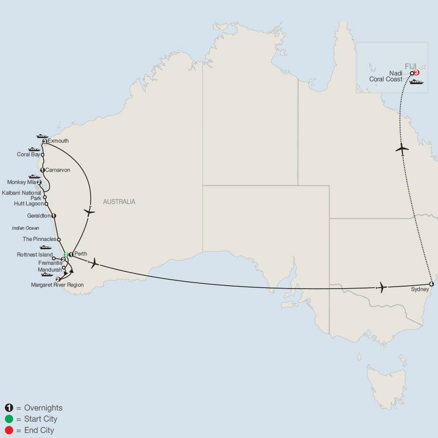 Best Kept Secret: Western Australia with Fiji map