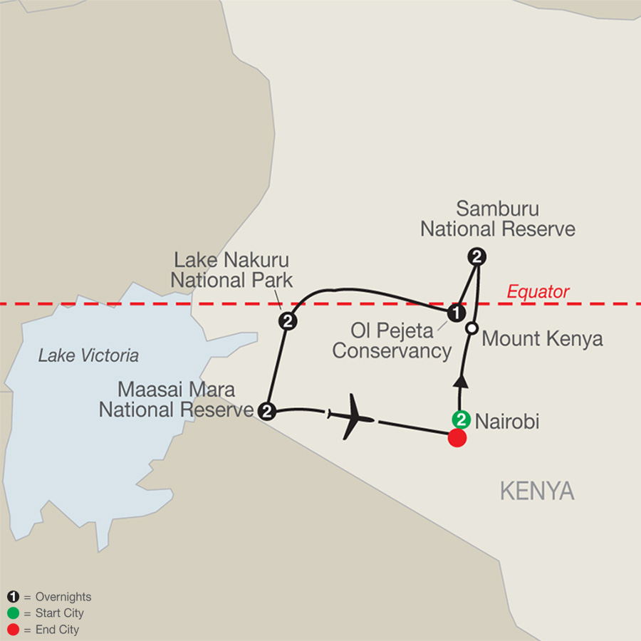 Kenya: A Classic Safari with Nairobi map