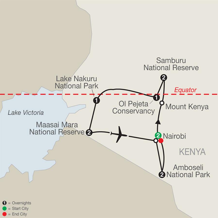 Kenya: A Classic Safari with Nairobi & Amboseli map