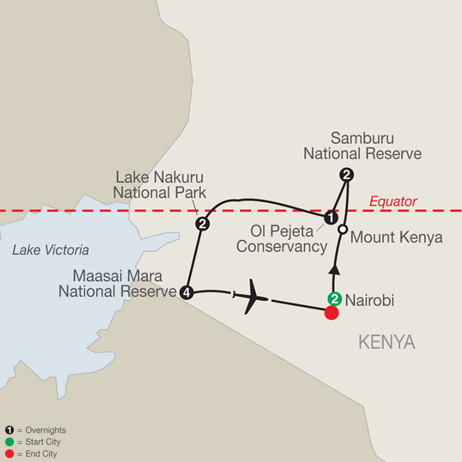 Kenya: A Classic Safari with Nairobi & Stay in Maasai Mara map