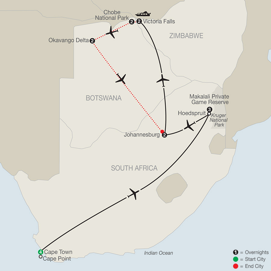 Splendors of South Africa & Victoria Falls with Botswana