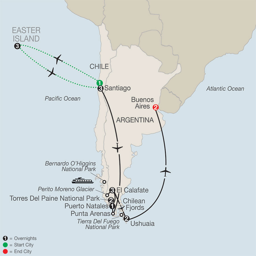 Patagonia: Journey to the End of the World with Easter Island map