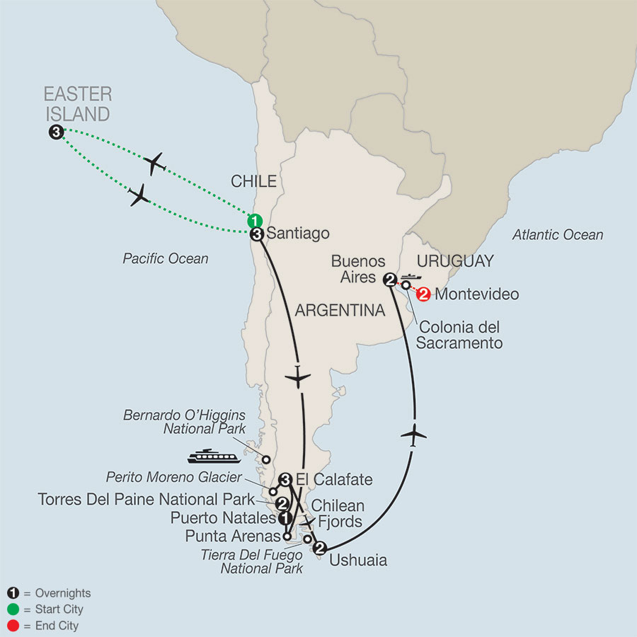 Patagonia: Journey to the End of the World with Easter Island & Uruguay map