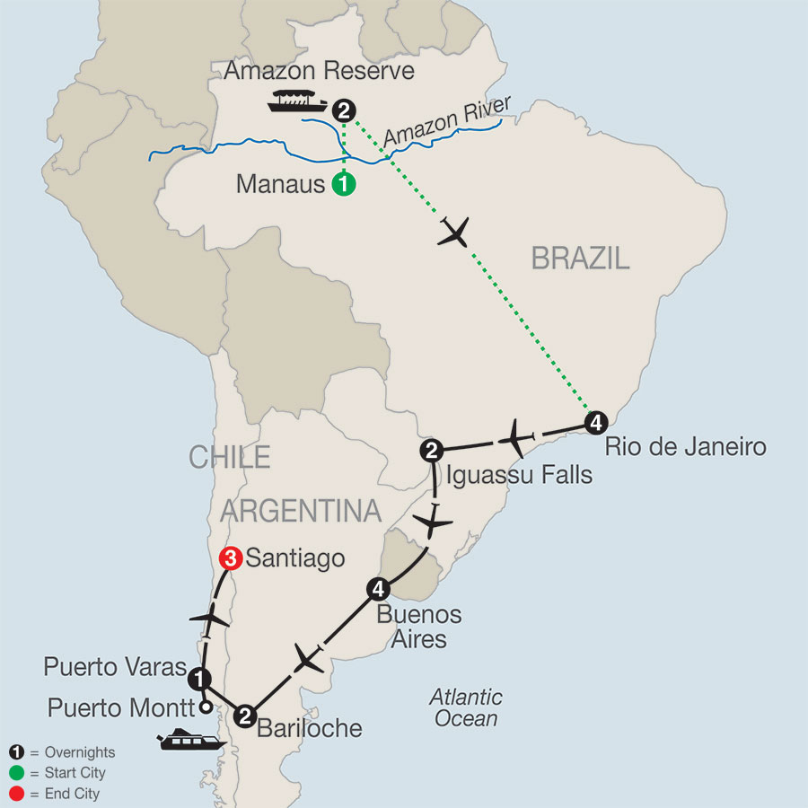 South American Odyssey with Amazon map