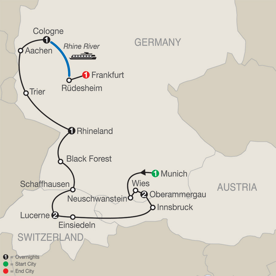 Catholic Central Europe with Oberammergau–Faith–Based Travel map