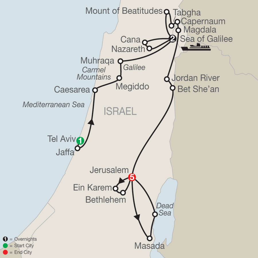 Journey Through the Holy Land - Faith-Based Travel map