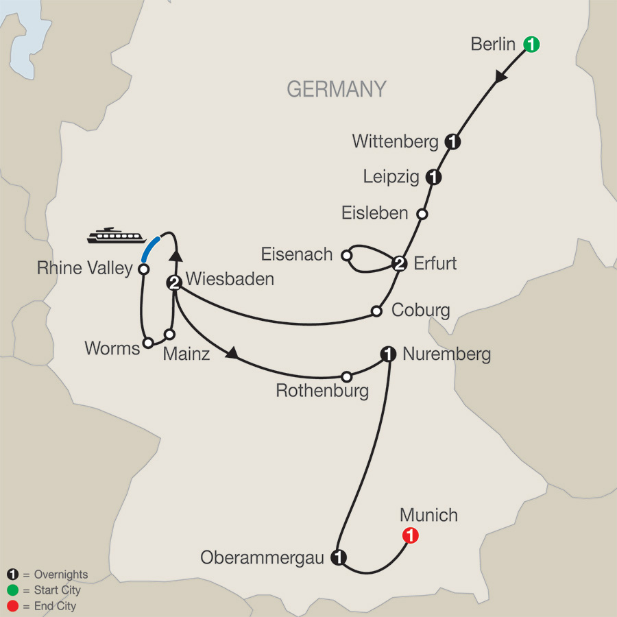 The European Reformation with Oberammergau–Faith–Based Travel map