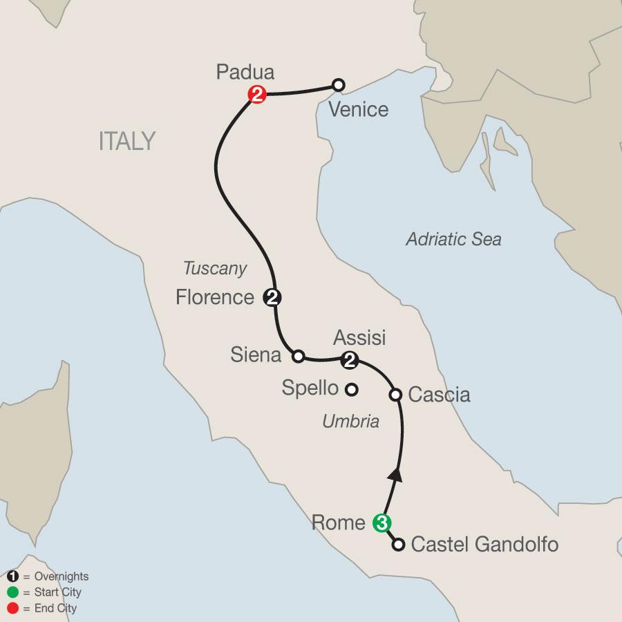 Grand Catholic Italy – Faith-Based Travel map