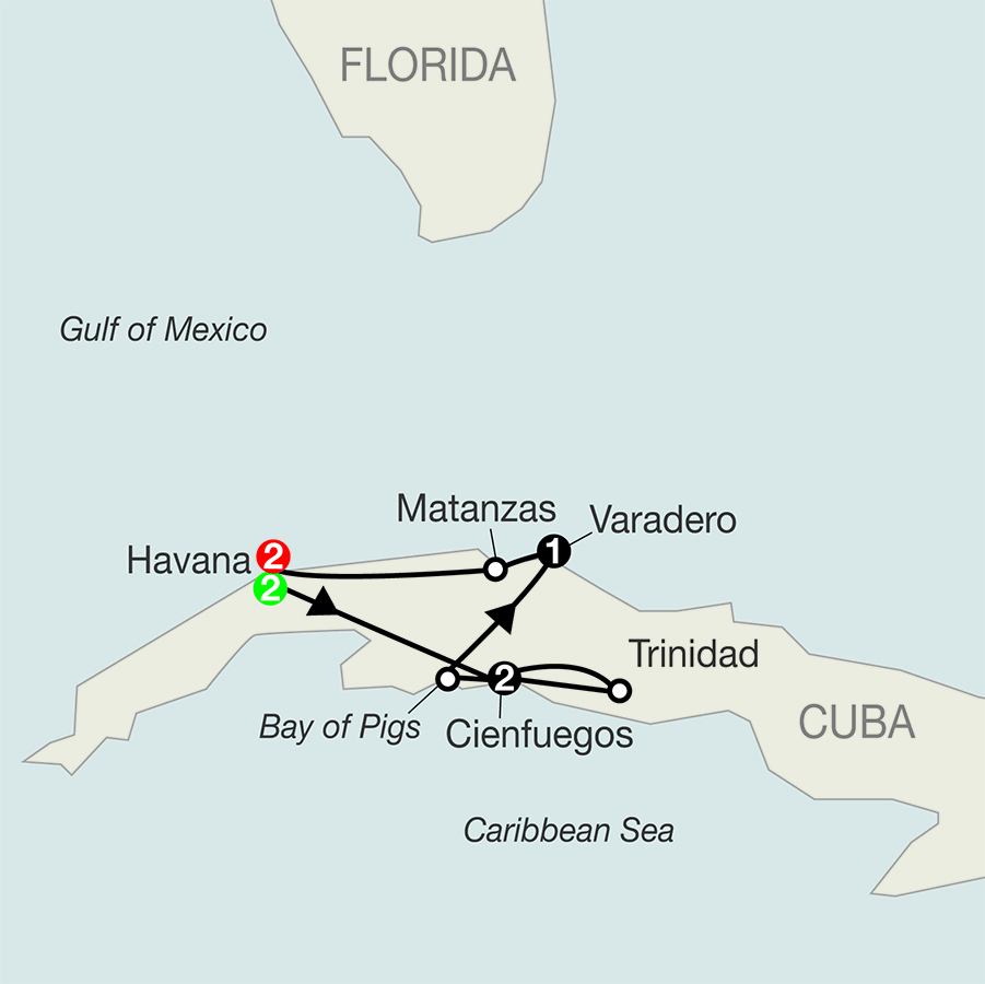 Cuba's People, Culture & Colonial Cities map