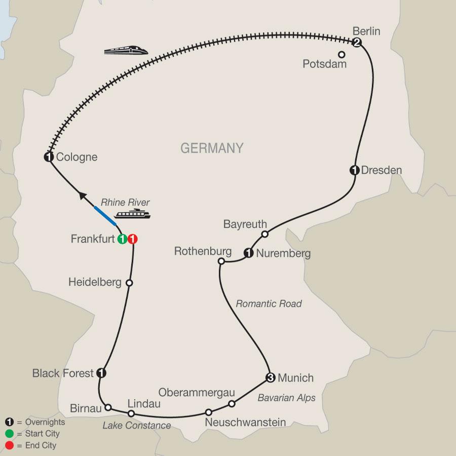 German Highlights map