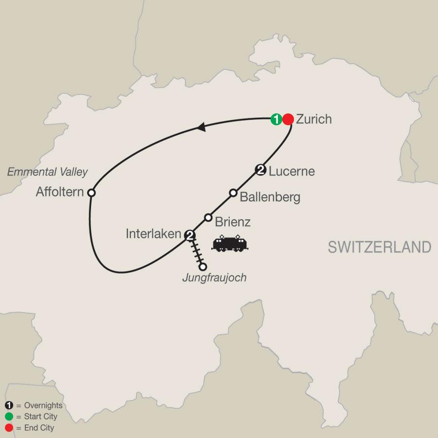 Top of Switzerland map