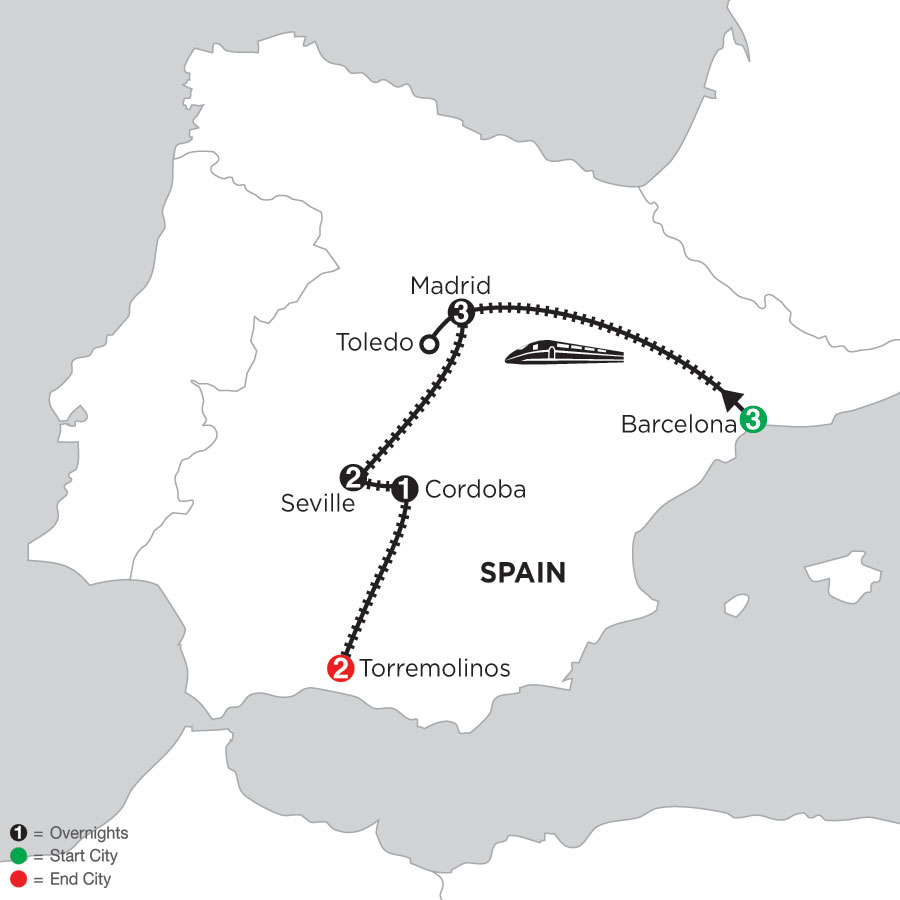3 Nights Barcelona, 3 Nights Madrid with Toledo, 2 Nights Seville, 1 Night Cordoba & 2 Nights Torremolinos