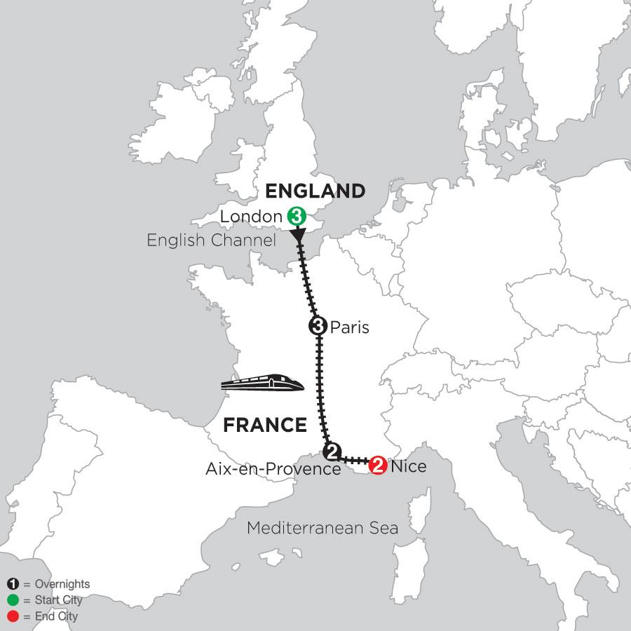 3 Nights London, 3 Nights Paris, 2 Nights Aix-en-Provence & 2 Nights Nice