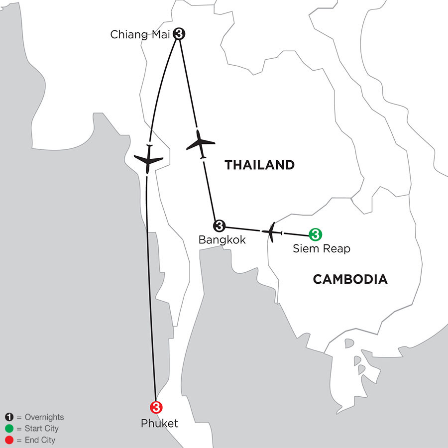 Siem Reap, Bangkok, Chiang Mai & Phuket