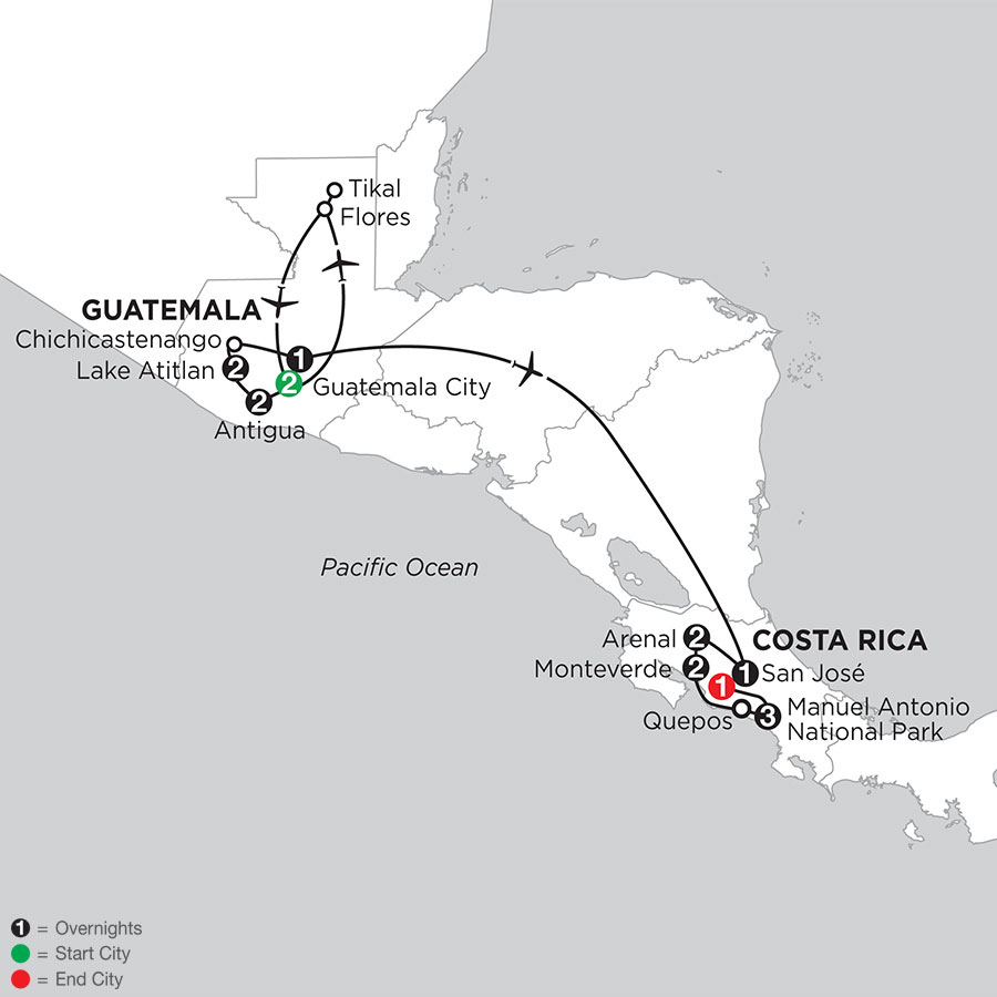 Best of Guatemala & Costa Rica with Tikal & Manuel Antonio