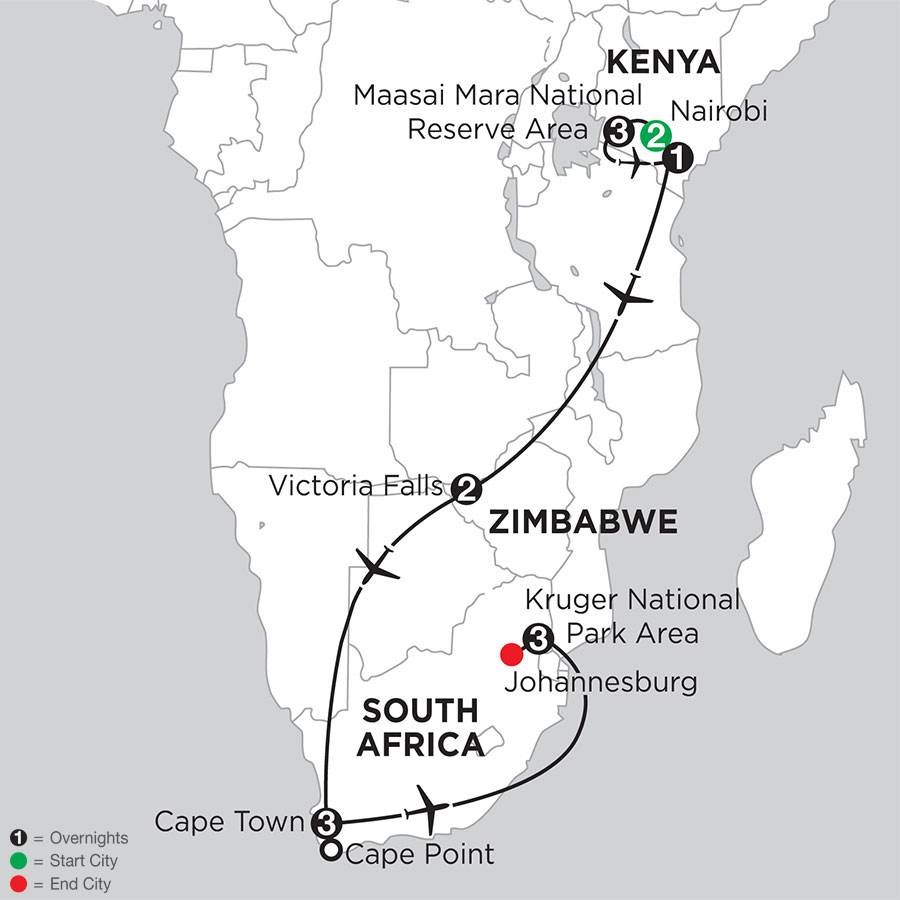 Jewels of Africa with Nairobi & Kruger National Park Area