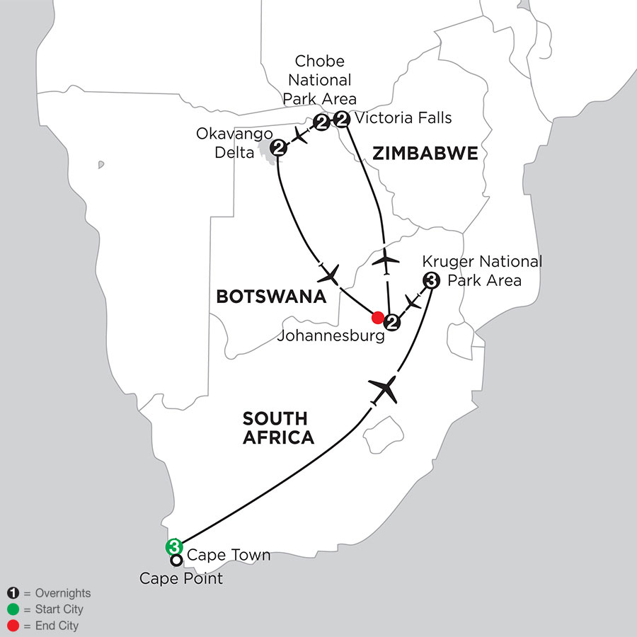 South African Sojourn with Victoria Falls & Botswana