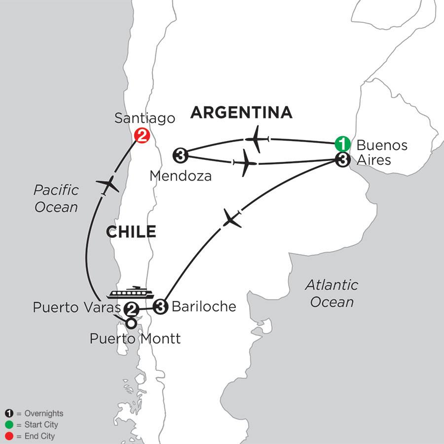 Argentina & Chiles Lake District with Mendoza & Santiago
