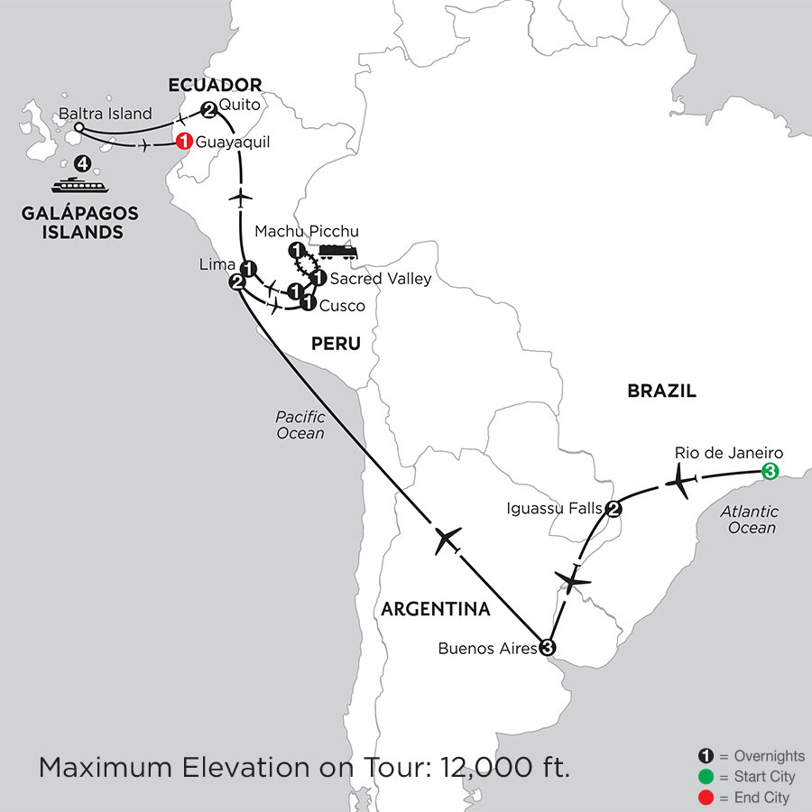 Grand Tour of South America with the Galápagos on board the Santa Cruz II