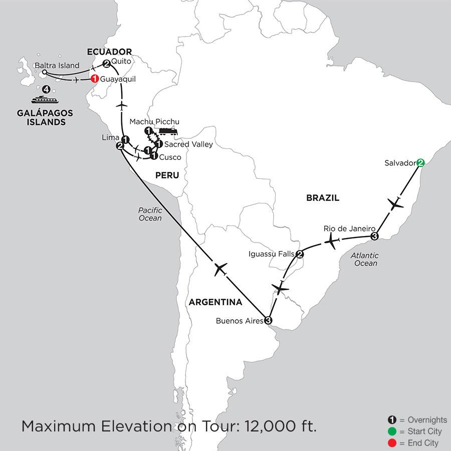 Grand Tour of South America with Salvador & the Galápagos on board the Santa Cruz II