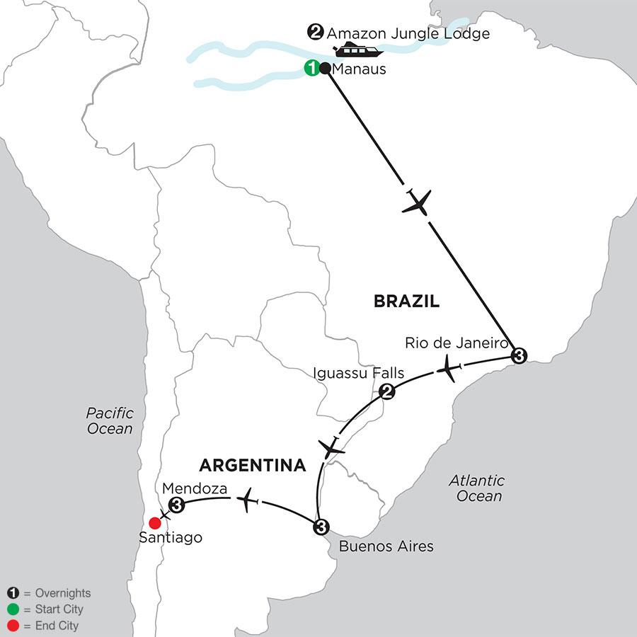 South American Selection with Brazils Amazon & Mendoza