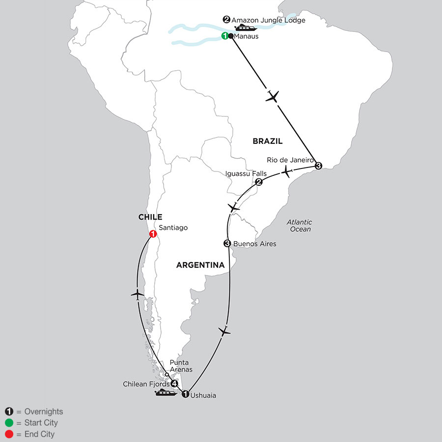 South American Selection with Brazils Amazon & Chilean Fjords Cruise