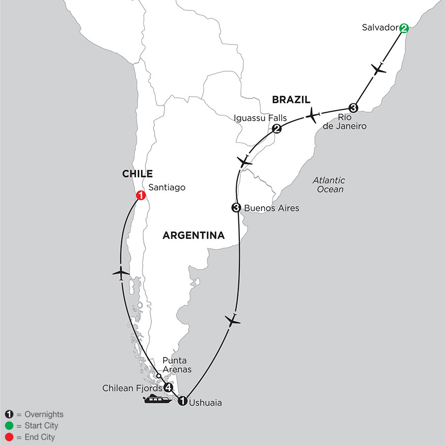 South American Selection with Salvador & Chilean Fjords Cruise