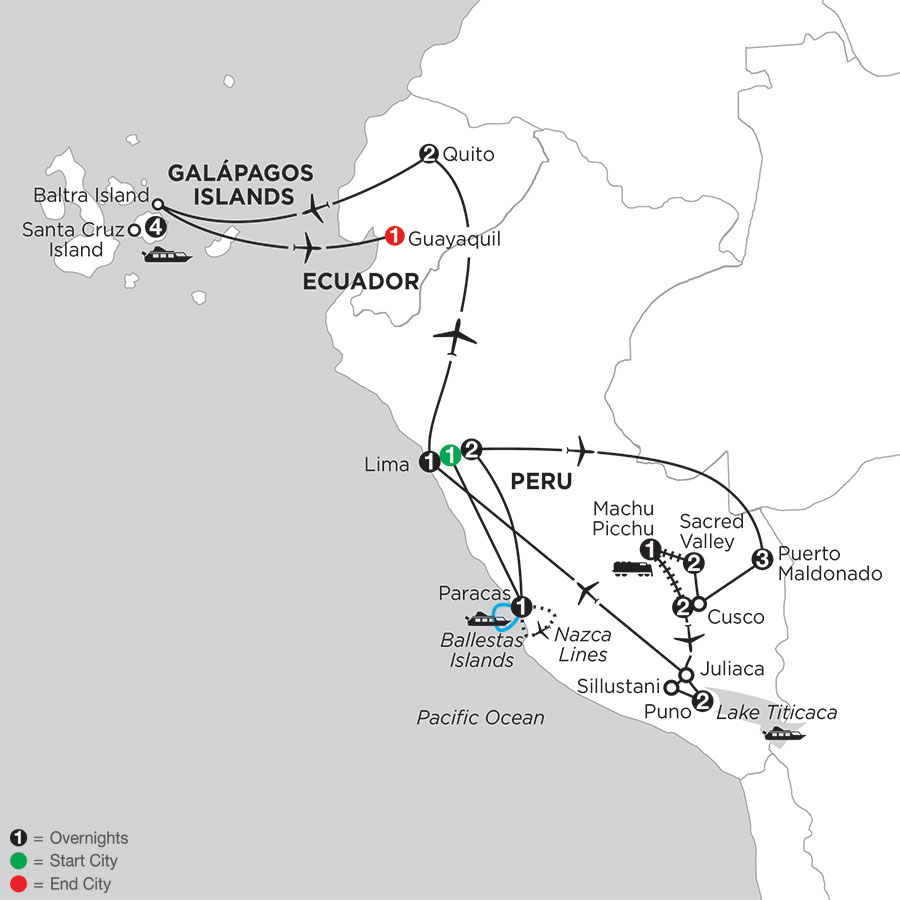 Perus Amazon & the Andes with Nazca Lines & the Finch Bay in the Galápagos
