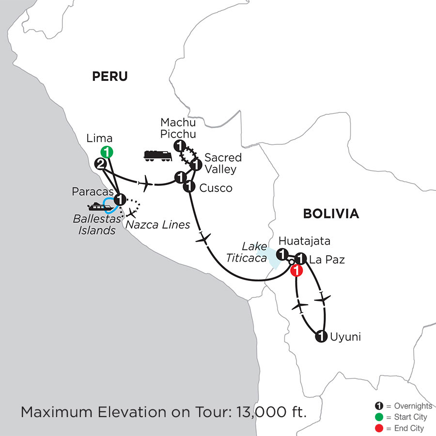 Peru Highlights with Nazca Lines, Bolivias Lake Titicaca & Uyuni Slat Flats