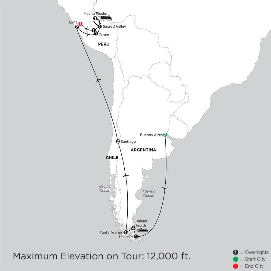 Patagonia & Chilean Fjords with Peru & Machu Picchu