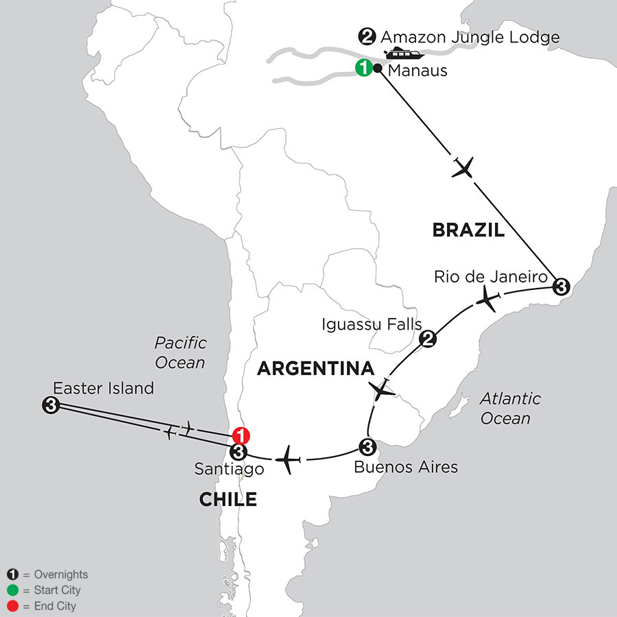 Brazil, Argentina & Chile with Brazils Amazon & Easter Island