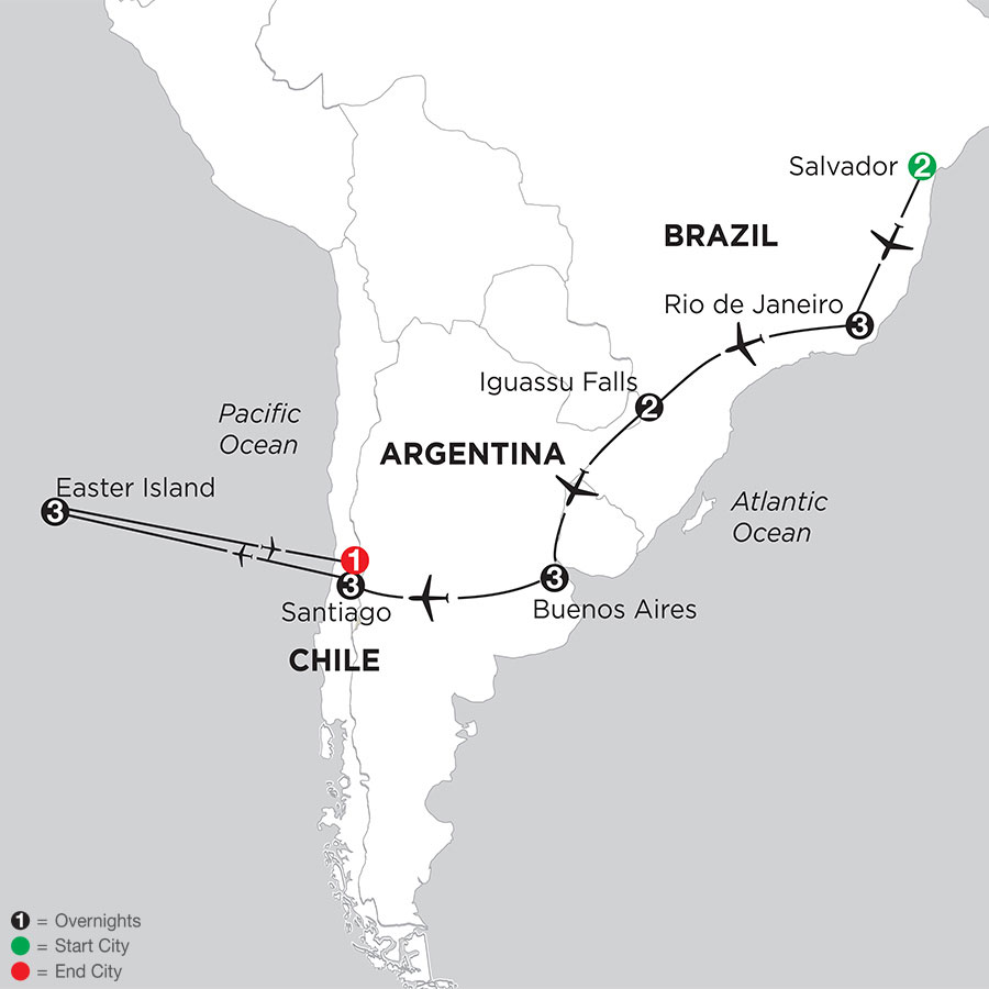 Brazil, Argentina & Chile with Salvador & Easter Island