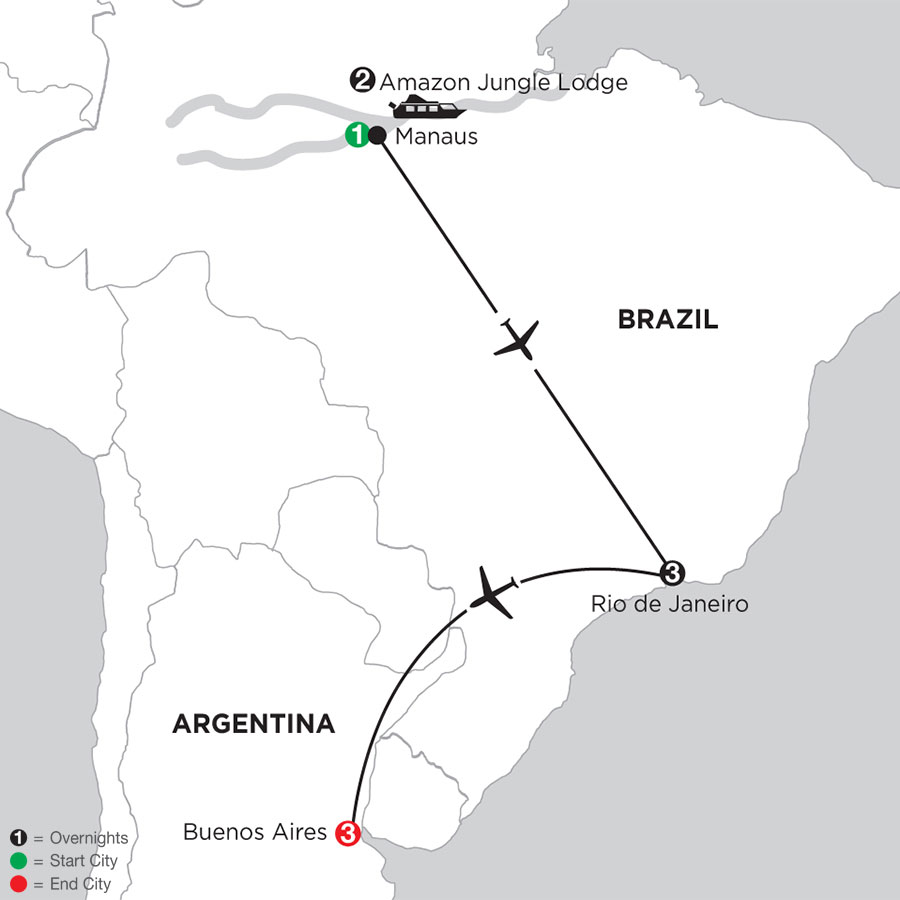 Rio de Janeiro Getaway with Brazils Amazon & Buenos Aires