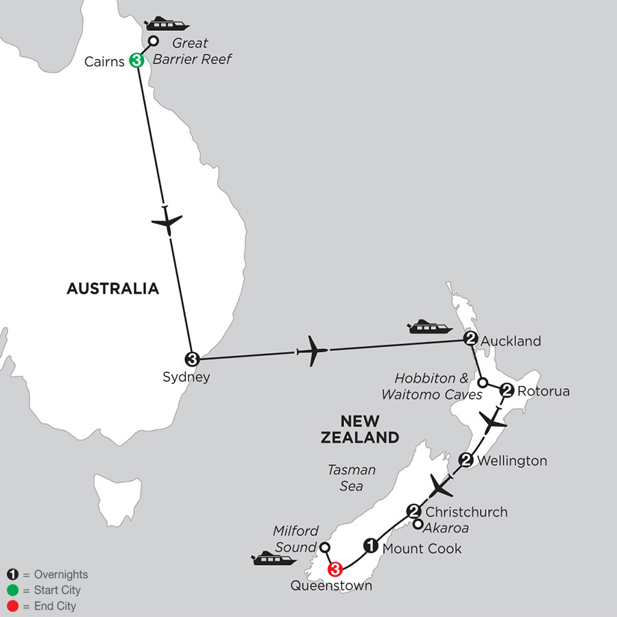 Naturally New Zealand with the Great Barrier Reef & Sydney